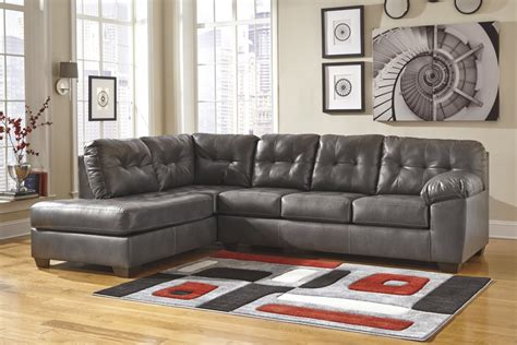 durablend leather sectional alliston durablend gray 2 pc laf chaise sectional