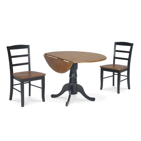 shop international concepts cherry black 3 dining set with dining table at lowes
