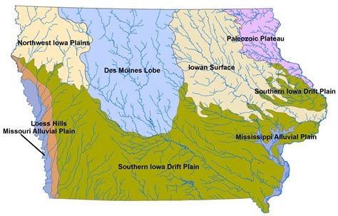 map of iowa rivers file landforms of iowa jpg wikimedia commons
