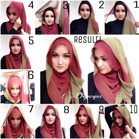 tutorial jilbab syar i dua warna cara memakai jilbab segi empat kreasi modern