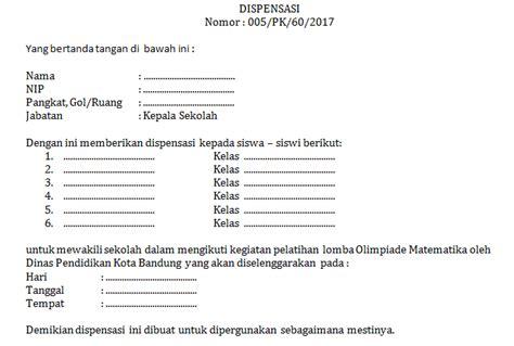 contoh surat dispensasi sekolah yang baik dan benar format