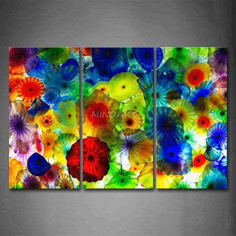Islamic Wall Stickers 3 piece wall art painting colorful stained glass picture