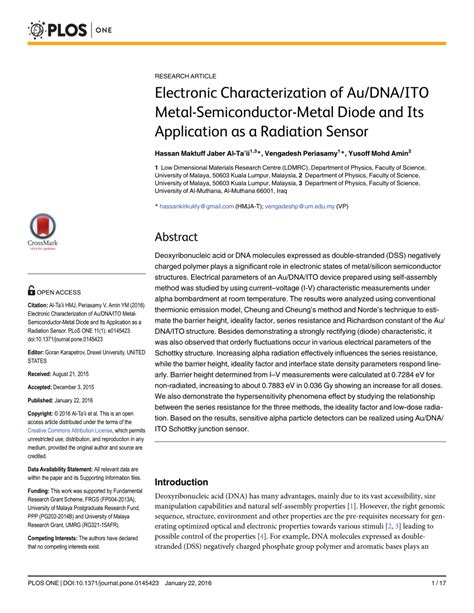 semiconductor diode and its application electronic characterization of au dna ito metal semiconductor metal diode and its application as