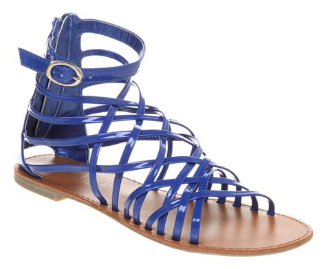 blue gladiator sandals womens office nominate gladiator blue patent pu sandals ebay