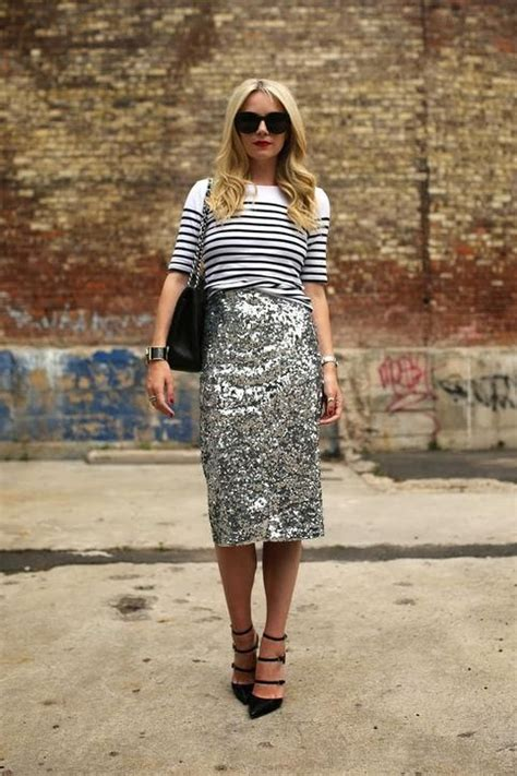 totally chic ways  style  sequined skirt