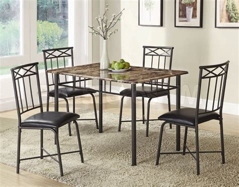 metal dining room furniture metal dinette sets poundex 5 pc simple modern metal frame