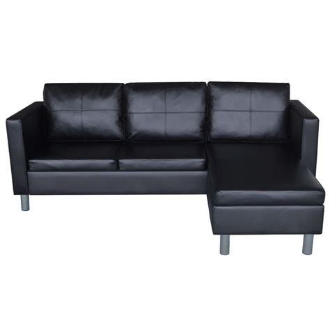 L Leather Sofa 3 Seater L Shaped Artificial Leather Sectional Sofa Black Vidaxl