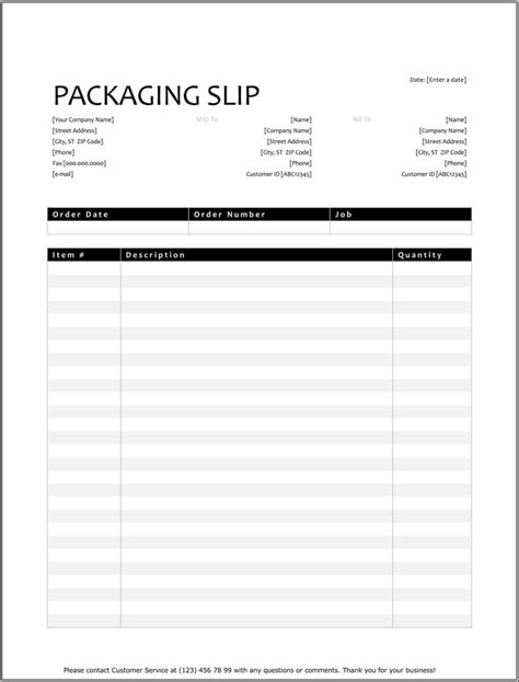 25 Free Shipping Packing Slip Templates For Word Excel Packing List Template