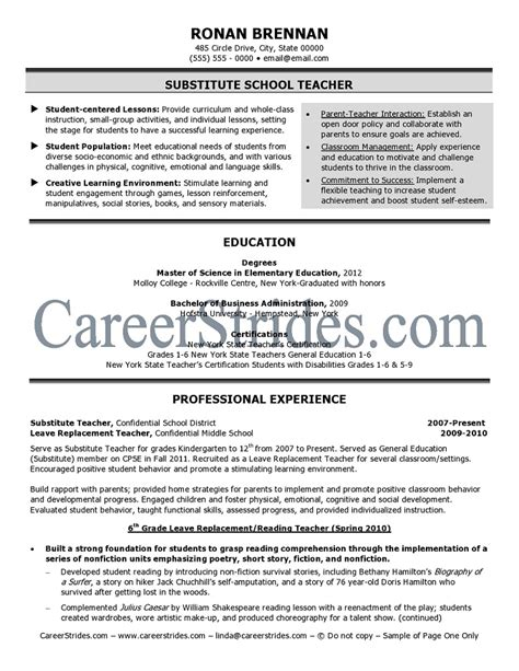 Resume Sles Of Teachers Term Substitute Resume Sales Lewesmr