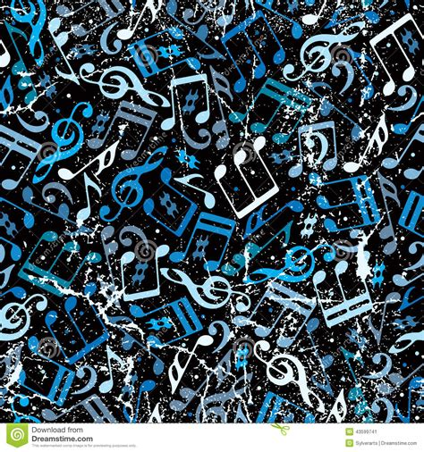 music notes pattern background blue musical notes seamless background with grunge texture