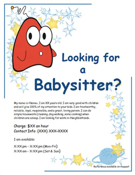babysitting template babysitting flyer template sanjonmotel