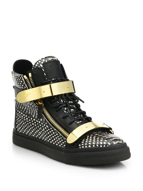 snake skin sneakers lyst giuseppe zanotti snakeskin embossed leather high