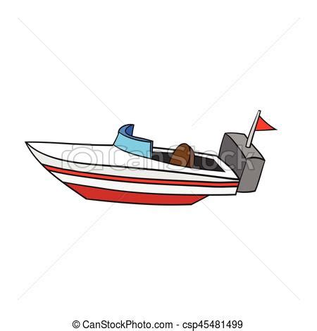 boat drawing in cartoon illustration of isolated cartoon speed boat vector eps8