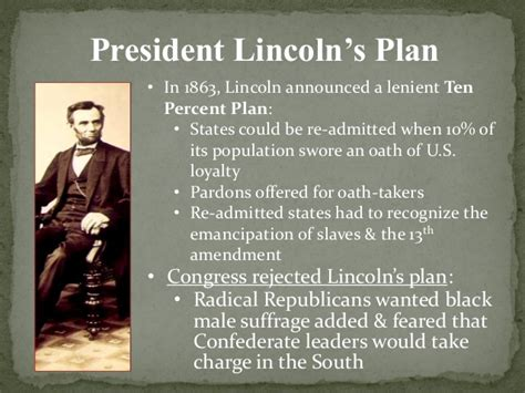 abraham lincoln 10 plan reconstruction 1865 1876