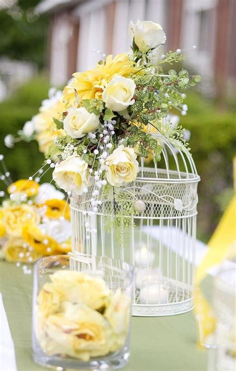 Large Birdcage And Yellow Flower Centerpiece Idea Summer Birdcage Centerpieces Weddings