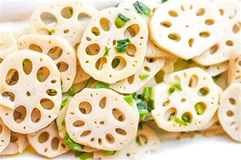 lotus root dish stir fried lotus root with green onions ahead of thyme