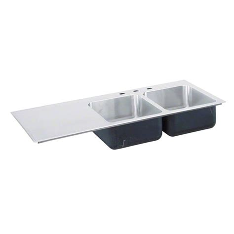 Just Manufacturing Si 3049 A Gr Double Bowl With Stainless Steel Kitchen Sinks With Drainboard