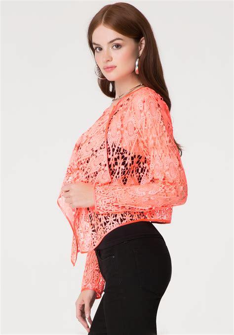 Jaket Parka Abuabu Pink Bb bebe crochet lace jacket in pink lyst