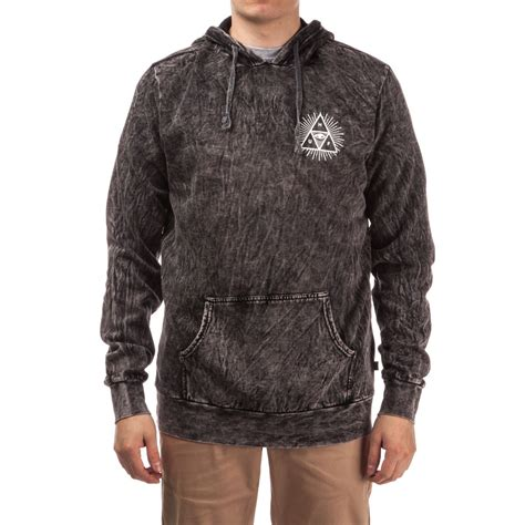 huf third eye triangle acid wash pullover hoodie black