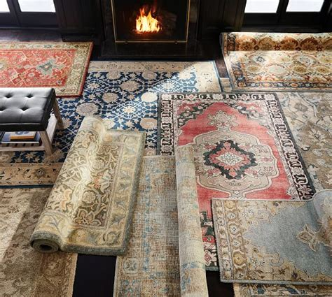 pottery barn tree of rug finn knotted rug blue multi pottery barn