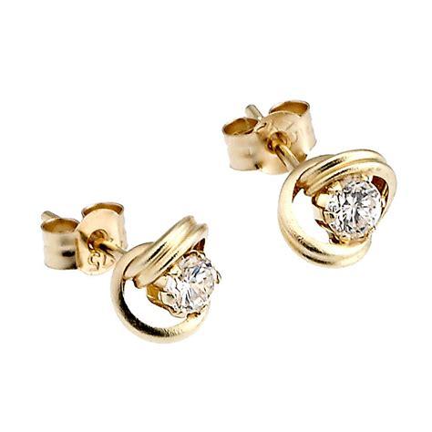 9ct yellow gold stud cubic zirconia earrings h samuel