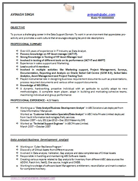 resume format for experienced computer engineers 10000 cv and resume sles with free 5 b tech resume sle