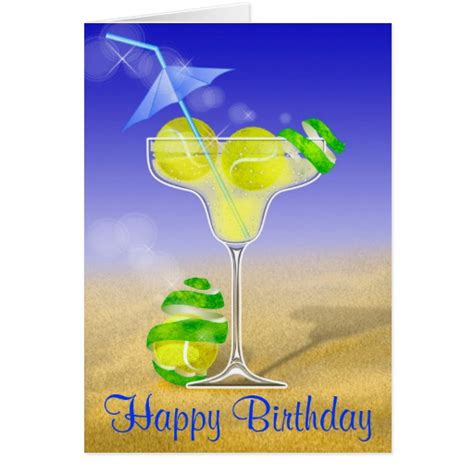 margarita birthday tennis margarita birthday greeting card zazzle