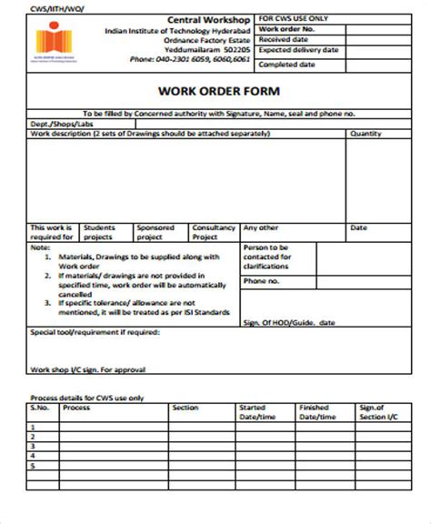 sample work order form well see orders forms invoice print marevinho