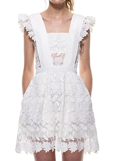 Sleeve Ruffle Lace Dress puff dress free exchanges neck white sheer lace ruffle