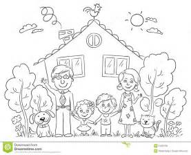 Happy Cartoon Family With Two Children And Pets Near Their House  sketch template