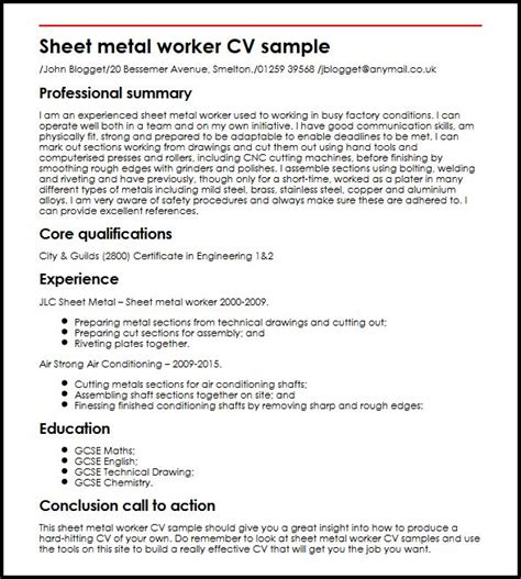Sheet Metal Worker Cover Letter by Carpenter Resume Exles Carpenter Cv Sle Myperfectcv Resume Exles Exles