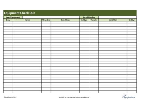 Best Photos Of Equipment Check Out Form Template Equipment Check Out Sheet Template Equipment Equipment Checkout List Template