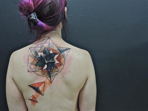 back neck geometric abstract tattoo by toko l 246 ren tattoo