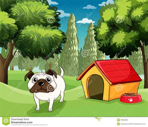 bulldog dog house a white bulldog with a dog food outside his dog house royalty free stock photo image