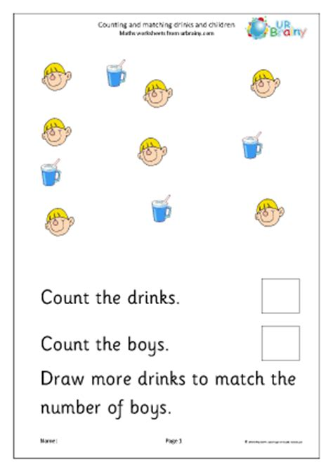 Count And Draw Worksheets by Count And Draw More To Match Children And Drinks Counting