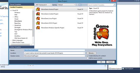 android templates for visual studio 2010 unable to create android monogame android project in