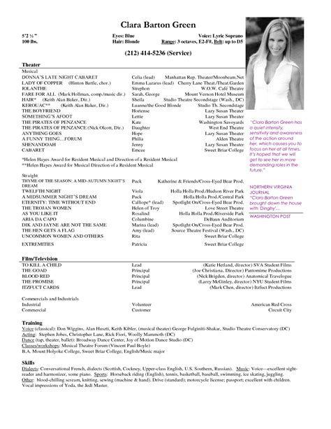 musical theatre resume template free acting resume sles and musical theater template