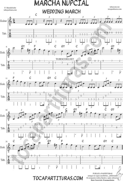 Wedding Song Guitar Chords by Tubescore Wedding March By Mendelssohn Tab Sheet