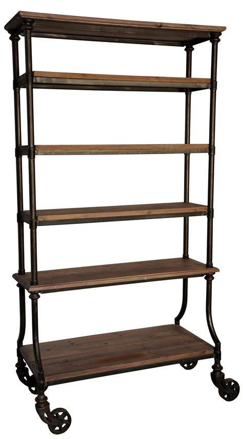 82 quot bookcase nat wood 6 shelves metal on