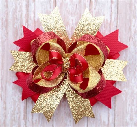 gold and red christmas hair bow christmas hair bow holiday