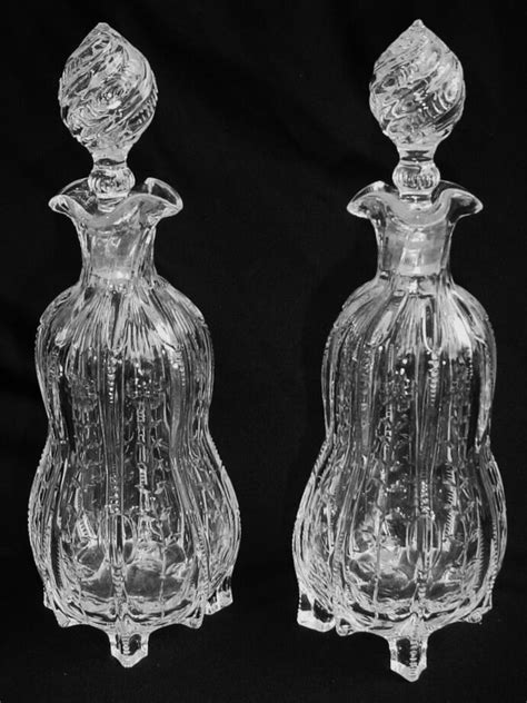 2 English Stourbridge? Rock Crystal Style Footed Decanters
