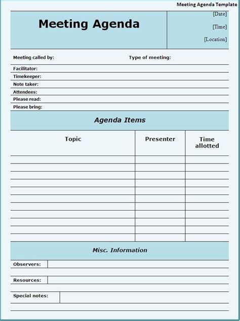 creating an agenda template meeting agendas templates meeting agenda template