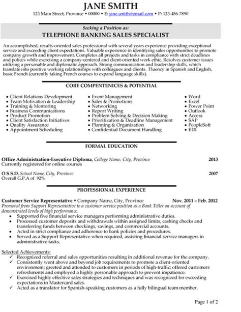 Telephone Banking Sales Specialist Resume Template