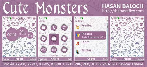 cute themes for nokia x2 02 cute monsters theme for nokia x2 00 x2 02 x2 05 x3 00