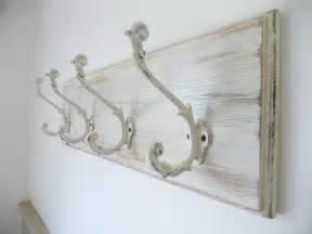 vintage style shabby chic wooden oak coat rack