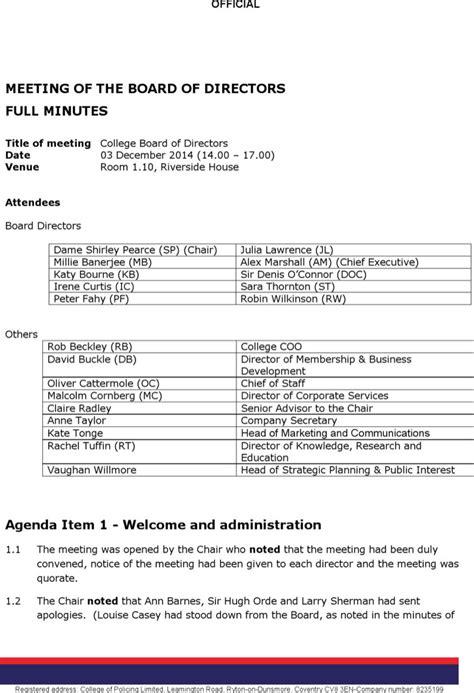 Board Of Directors Meeting Agenda Templates Download Free Premium Templates Forms Sles Board Of Directors Application Template