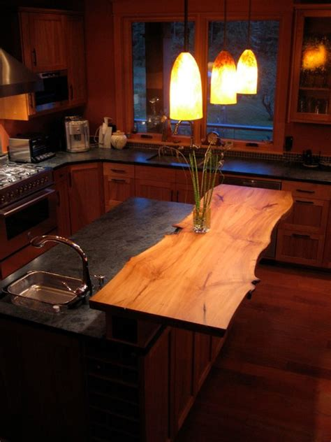 Handmade Kitchen Island by Custom Live Edge Island Countertop