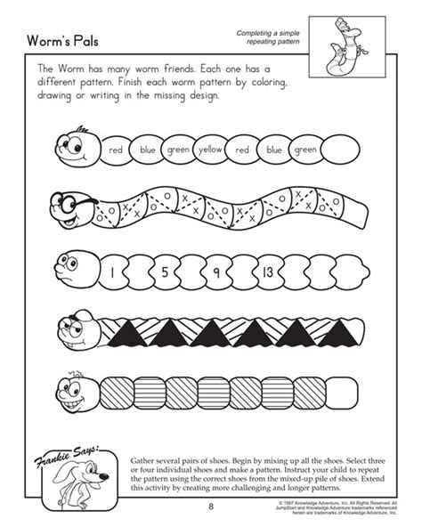 number pattern games to print worm s pals printable pattern worksheets worm unit