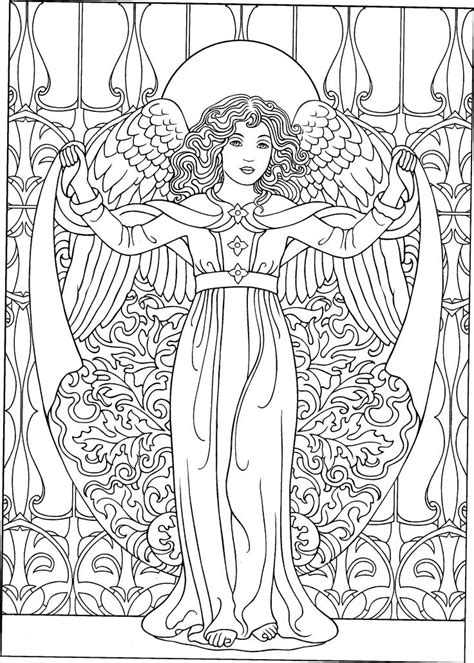 colouring book for adults guardian with trumpet flying coloring pages