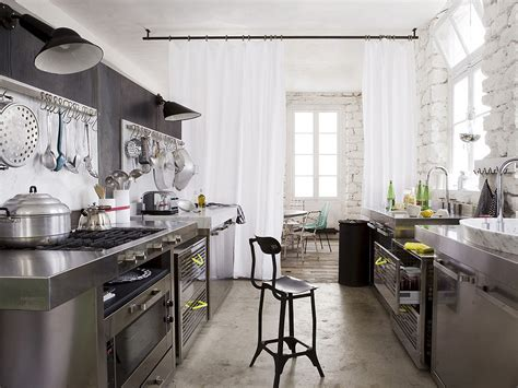 Industrial Kitchen Design Stainless Steel Kitchen Whitewashed Walls White Curtains Separating The Kitchen